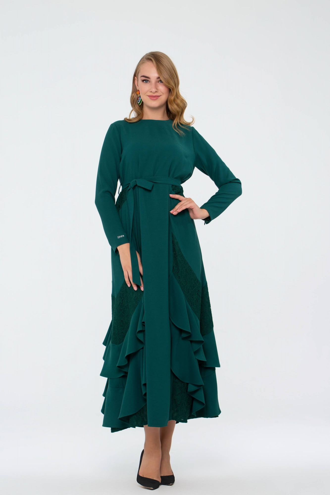 Bihterin Elbise Zümrüt Yeşili 3025W19