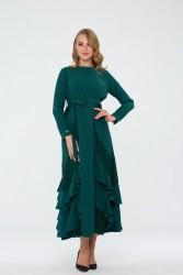 Bihterin Elbise Zümrüt Yeşili 3025W19 - Thumbnail