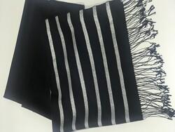 Çizgili Şal Siyah-Gümüş 1013s20 - Thumbnail